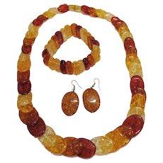 50% Off Amazing Vintage Confetti Lucite Parure Necklace Stretch Bracelet Pierced Earrings