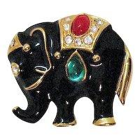 Vintage Black Enameled Bejeweled Figural Elephant Brooch