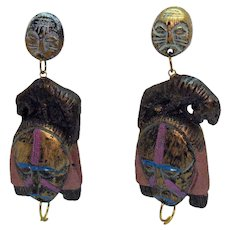 One of a Kind Vintage BOLD Paper Mache Tribal Figural Warrior Tiger Pierced Earrings