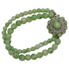 Signed Marvella Vintage Peking Glass Double Strand Beaded Bracelet