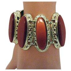 BOOK Bold Vintage Brick Red Thermoset Golden Bracelet