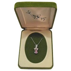 Signed Hedy 1964 Vintage Old Jewelry Store Stock Amethyst Rhinestone Necklace Original Box Unworn