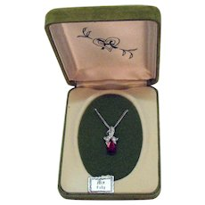 Signed Hedy 1964 Old Jewelry Store Stock Vintage July Birthday Ruby Rhinestone Necklace Original Box Unworn