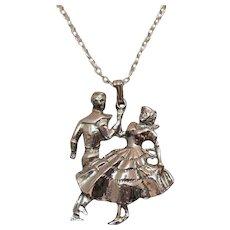 Signed Liz Lum Vintage Figural Square Dancers Pendant Necklace