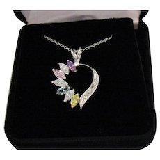 Vintage 925 Sterling Silver Gemstone Heart Pendant Necklace