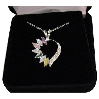 Vintage 925 Sterling Silver Gemstone Heart Pendant Necklace