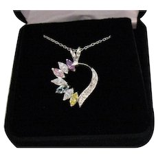 Gorgeous Vintage 925 Sterling Silver Gemstone Heart Pendant Necklace FREE SHIPPING