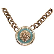 Awesome Heavy Golden Chain Lion on Turquoise Vintage Necklace Enameled Pendant