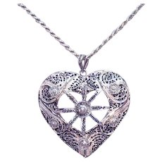 Gorgeous Vintage Sterling Silver 925 Italian Lacy Filigree Heart Pendant Necklace