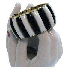 Signed Hong Kong Metal Black White Thermoset Expansion Bracelet