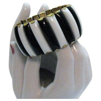 Signed Hong Kong Metal Black White Thermoset Expansion Bracelet