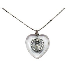 Gorgeous Sterling Silver 925 Vintage Signed Chapel Glass Heart Virgin Mary Pendant Necklace