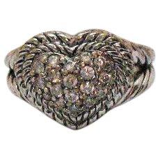 Signed Judith Ripka Sterling Silver Vintage Pava Heart Bold Ring
