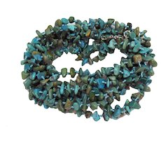 Signed SX 925 Hand Knotted Vintage Natural Turquoise Nugget 90 Inch Long Necklace 100 Grams!