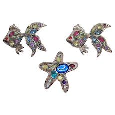 Set of Three Vintage Silver Figural Goldfish Star Fish Rhinestone Brooches or Scatter Pins FREE SHIPPING