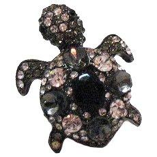 Fabulous Vintage Figural Turtle Ring Size 6 Japanned Metal Black Clear Rhinestone