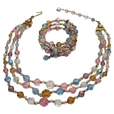 50% Off Stunning Alice Caviness Vintage Three Strand Necklace Wrap Bracelet Pastel Faceted Glass Beads