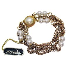 Signed Marvella Vintage Golden Chain Faux Pearl Bracelet Original Tag Six Strand