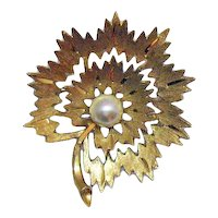 Signed Mamselle Vintage Blooming Flower Faux Pearl Golden Brooch