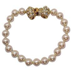 Gorgeous Vintage Faux Pearl Rhinestone Bow Bracelet