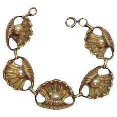 Unique Vintage Heavy 12K Gold Filled Oyster Faux Pearl Bracelet