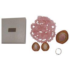 Signed CS Celia Sebiri for Avon Genuine Rose Quartz Vintage 1987 Necklace Brooch Scarf Pin Pierced Earrings Set