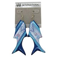 Vintage Unworn Signed UY International Philippines 1970s Bold Fish Pierced Earrings 3 ¼ Inches!