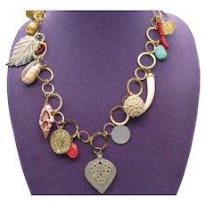 Super Fun Vintage Golden Circle Chain Charm Necklace