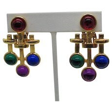 Bold Vintage Glass Cabochon Golden Clip Earrings