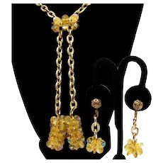 Fabulous Yellow Lucite Vintage Beaded Aurora Borealis Lariat Necklace Clip Earrings Set