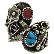 Amazing Native American Indian Vintage Ring Turquoise Coral Floral Bypass Sterling Silver