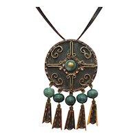 Unsigned Casa Maya Mexico Mayan Vintage Mixed Metals Green Glass Convertible Brooch Pendant Necklace