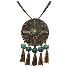 Unsigned Casa Maya Mexico Mayan Vintage Mixed Metals Green Glass Convertible Brooch Pendant Necklace