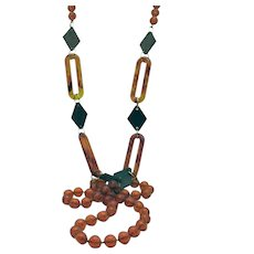 Awesome Lucite Wood Beaded 51 Inch Long Root Beer Colored Necklace FREE SHIPPING
