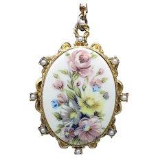 Rare Signed Lisner Vintage Porcelain Transferware Floral Double Strand Necklace
