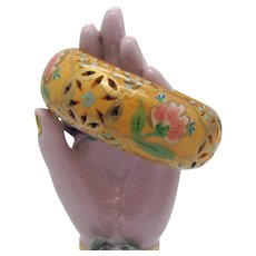 Unique Vintage Wood Hand Painted Folk Art Butterscotch Floral Bangle Bracelet