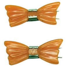 Carved Butterscotch Bakelite Vintage Bow Barrett's