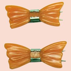 Carved Butterscotch Bakelite Vintage Bow Barrett's