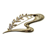 Metaphysical Shaped Golden Vintage Faux Pearl Rhinestone Bold Brooch 3 1/4 Wide