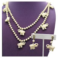 Signed Hong Kong Vintage Faux Ivory Celluloid Figural Elephant Charm Necklace and Earrings Set