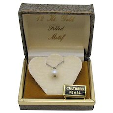Vintage 12K White Gold Filled Cultured Pearl Necklace New Old Stock Original Box