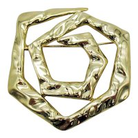 Signed Torino Vintage Hammered Golden Large Abstract Brooch FREE SHIPPING