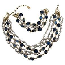 GORGEOUS Vintage Collet Set Sapphire Blue Glass Faux Pearl Necklace Bracelet Set