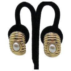 Signed KJL Kenneth Jay Lane Vintage Bold Golden Faux Pearl Clip Earrings