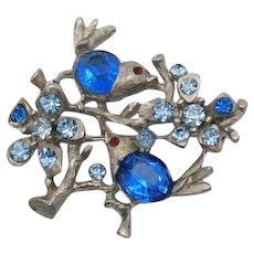 Stunning Vintage Figural Blue Birds of Happiness Unsigned Early Coro Brooch FREE SHIPPING