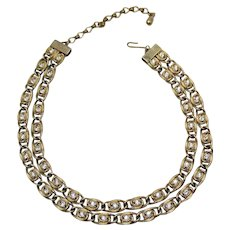 Signed Kramer Vintage Rhinestone Chunky Two Stand Reversible Golden Necklace