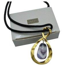 Signed Avon Vintage '1992 Bold Genuine Amethyst Pendant' Necklace~Original Box Unworn