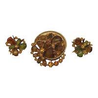 Signed Art Arthur Pepper Porphyry Glass Rhinestone Vintage Brooch Earrings Set FREE SHIPPING