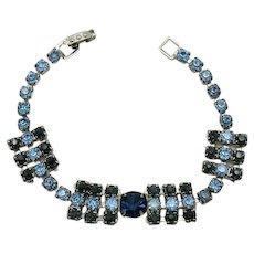 Beautiful Mid Century Modern Vintage Sapphire Blue Rhinestone Bracelet