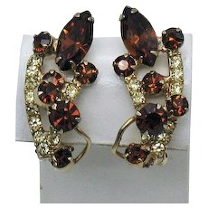Juliana D&E  Delizza Ester Vintage Topaz Summer Yellow Rhinestone Layered Clip Earrings